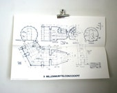 Vintage Original 1977 Star Wars Promotional Blueprint:  Millennium Falcon Cockpit
