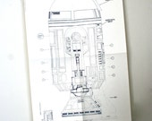Vintage Original 1977 Star Wars Promotional Blueprint: R2D2