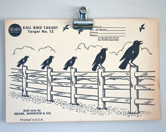 Vintage Original 1950s Crows on a Fence Paper Shooting Target