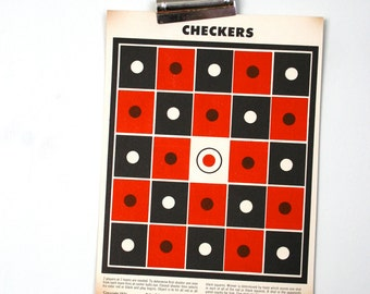 Vintage 1950s Checkers Paper Shooting Game Target