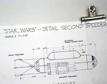 Vintage Original 1977 Star Wars Promotional Blueprint: Mobquet Landspeeder
