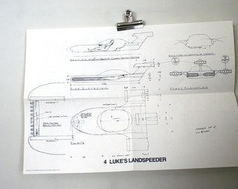 Vintage Original 1977 Star Wars Promotional Blueprint: Luke's Landspeeder