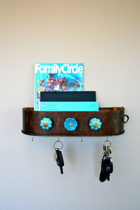 mail holder and key rack - blue