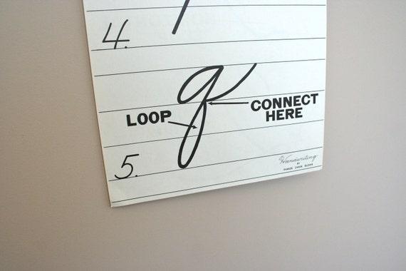 SALE vintage paper handwriting cursive instruction poster: letter Q