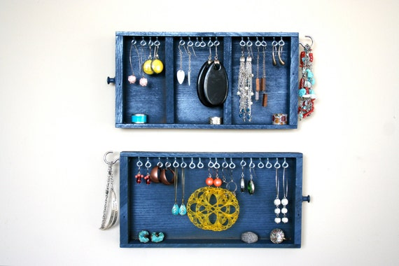S A L E jewelry display: blue vintage drawers