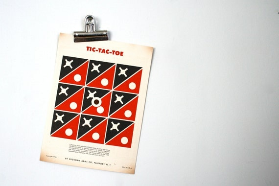 Vintage 1950s Tic Tac Toe Paper Shooting Game Target