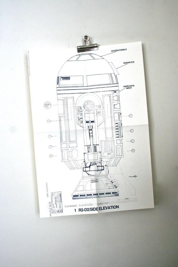 Vintage Original 1977 Star Wars Promotional Blueprint: R2D2