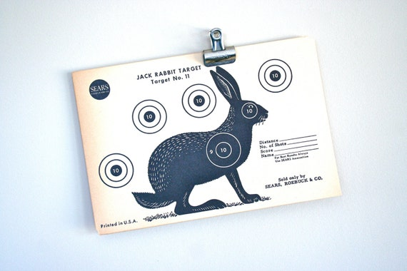 Vintage Original 1950s Jack Rabbit Paper Shooting Target