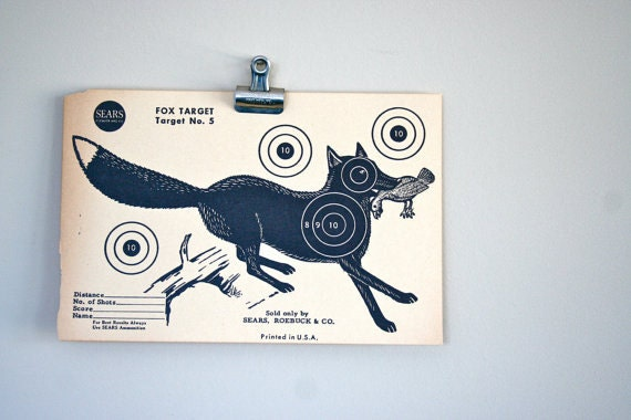 vintage targets: instant collection of 5 targets including fox, gopher, crow, raccoon, squirrel