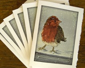 Christmas Cards Bird in Snow Set of Six 5 x 7 Blank Cards