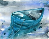 Blue Boat Watercolor Painting Original Nautical Art
