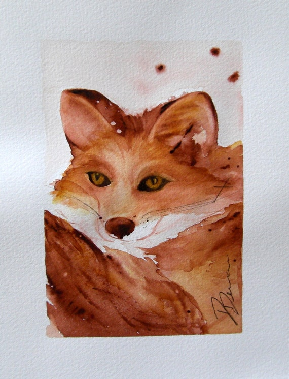 Red Fox Watercolor Painting Woodland Art