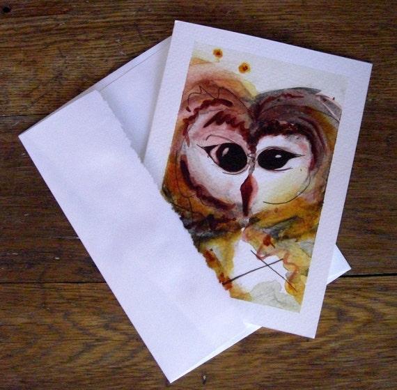 Owl Greeting Card Handpainted Original Watercolor Bird Art