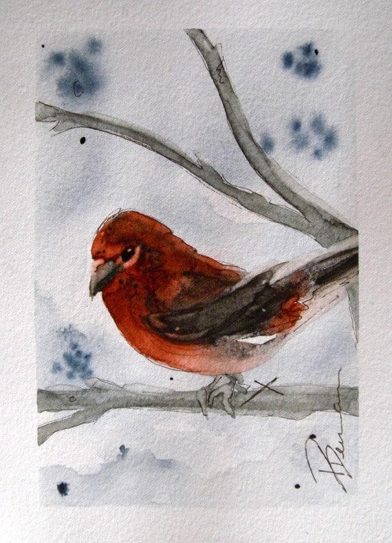 Finch In Winter Bird Art Original Watercolor Painting