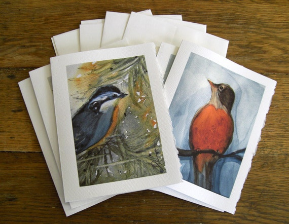 Bird Art Greeting Cards Set of 6 Watercolor Art Prints Blank Cards 5 x 7