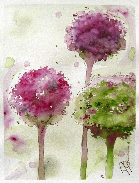 Allium Floral Watercolor Original Art