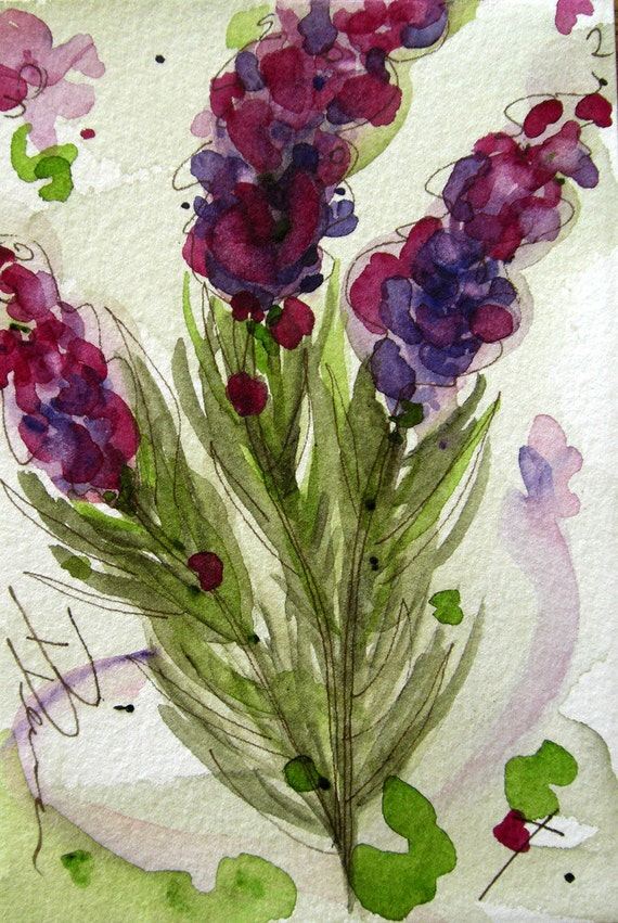 Lavender Floral Watercolor Painting