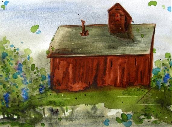 Barn and Wildflowers Original Watercolor Painting