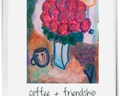 Original Acrylic Painting Flowers in Transluscent Vase, a Cup of Coffee and Lamp called Coffee and Flowers for a Friend