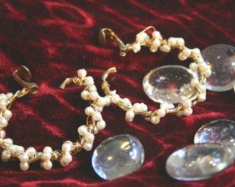 Wire Wrapped Faux Pearl Hoop Earrings