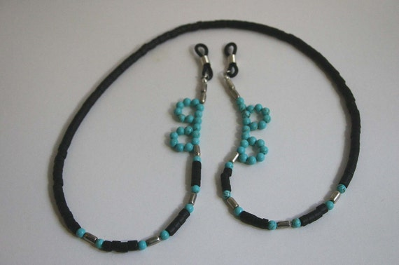Turquoise and Shell Eyeglass Necklace