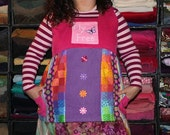 """Pink """"Fly Free"""" Butterfly Patchwork Apron Shirt XXL"""