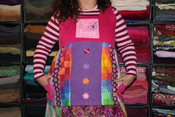 "Pink ""Fly Free"" Butterfly Patchwork Apron Shirt XXL"