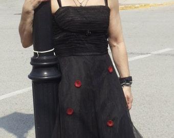 SALE,WAS 65.00,Black Tulle Dress,Evening Dress, Vintage Dress, Black Dress,Romantic Dress