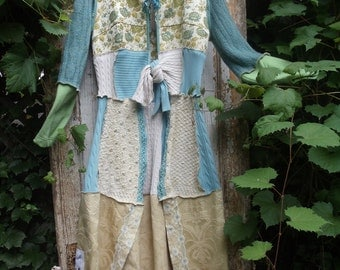 SALE,WAS 250.00,Upcycled,Eco Friendly,Long Sweater Coat OOAK