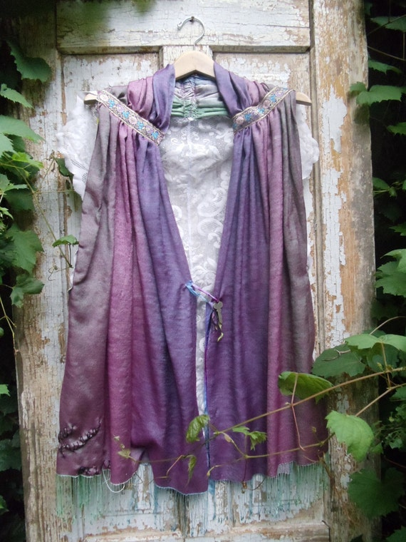 SALE,WAS 89.00Shades of Purple,Lace,Old Key,Upcycled,Eco friendly,Vest,OOAK,