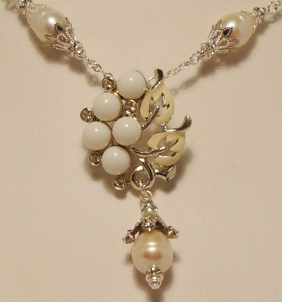 Pearl Wedding Bridal or Bridesmaid Necklace with pearls and vintage milk glass and rhinestone focal piece-Vintage Loveliness