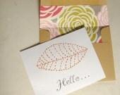 Thinking of You. Greeting Card. Orange Leaf Hand Stitched
