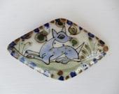 Ken Edwards Mexican Pottery Deer  w/ Butterflies Belt Buckle - Hand Painted - Diamond Shape - Ceramic - Boho - Folk