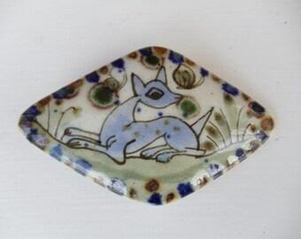 SALE Ken Edwards Mexican Pottery Deer  w/ Butterflies Belt Buckle - Hand Painted - Diamond Shape - Ceramic - Boho - Folk