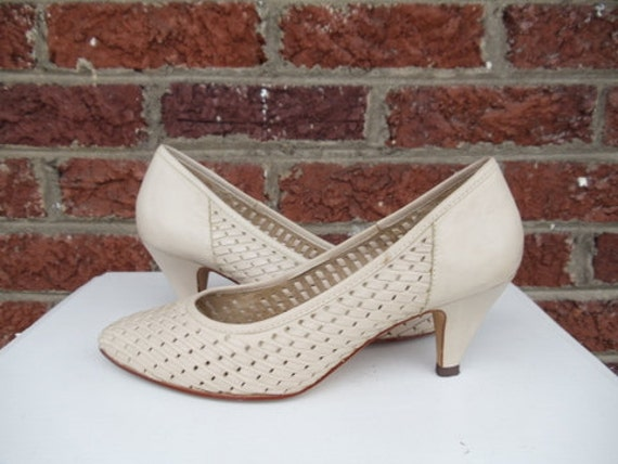 Beige Woven Leather Pumps - Casual Heels - Taupe - Wicker - Summer - Brazil - Neutral - Nicole - Size 8 M