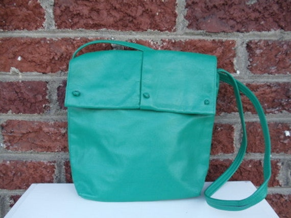 Green Leather Purse with Knot Detail - Long Strap - Jade - Teal - Kelly - Funky - Bright - Spring - Summer