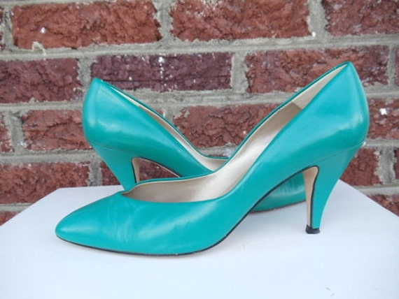 Teal Leather Bandolino Pumps - Heels - Green - Spring - Summer - Bandolino - Italy - size 9