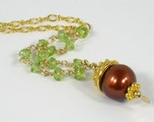 Chocolate Pearl Necklace Peridot Gold Filled Gold Vermeil