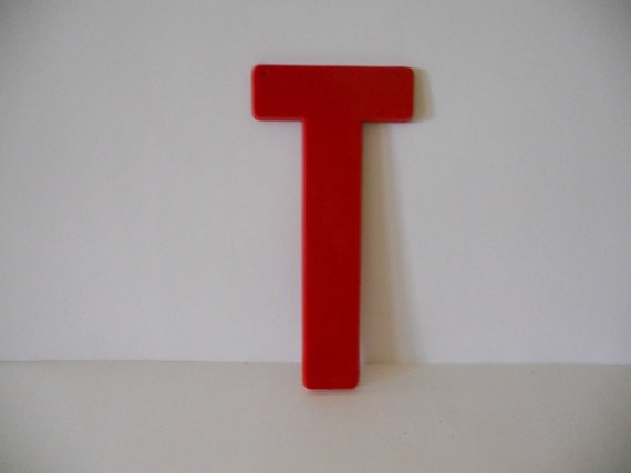 Vintage 8 inch large plastic red letter t more by for Large plastic alphabet letters