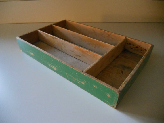 Vintage Divided Wooden Box Cutlery Tray Green Chippy Paint