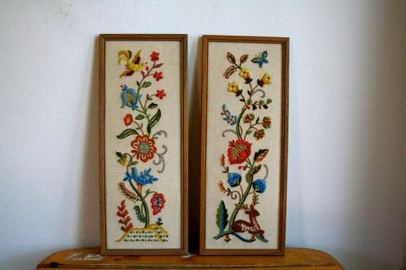 Vintage Crewel Woodland Creatures Framed Art / Set of 2 / Wall Hanging / Folk Art