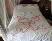 RESERVED pls DON'T Buy Ribbons and Bows Chenille Bedspread SALE 30%
