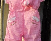 Pink Baby Gingham Jumper with matching booties