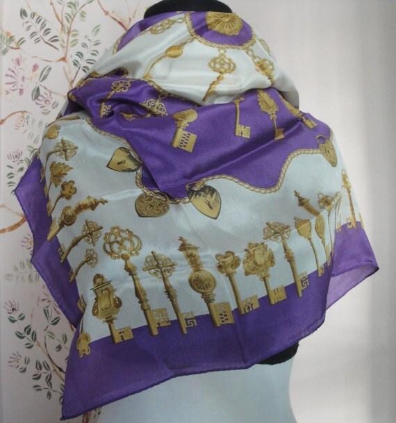 Oscar de la Renta Key Silk Crepe scarf