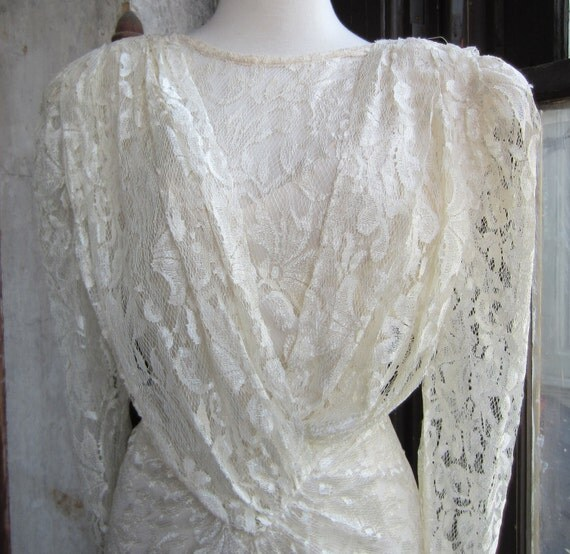 RESERVED 80's Tea length Ivory Lace Dress