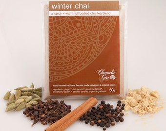 Organic Winter Chai Masala 50 grams bag, makes about 50 - 55 cups