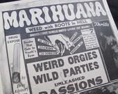 Reprint from a Antique Marihuana Propaganda Poster 1930's 11 x 14 Pot Weed