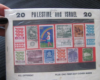 Vintage Palestine and Israel Stamp Collection 20 Unopened Package