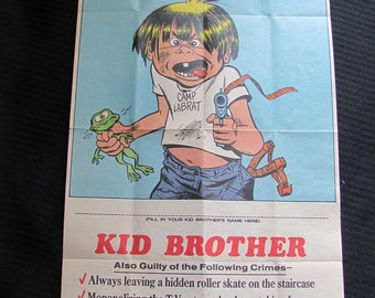 Vintage WANTED Poster - Kid Brother 10 x 18