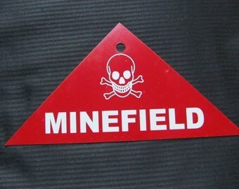 Vintage Red Metal MINEFIELD Warning Sign WWII Era Military Circa 1940s NOS